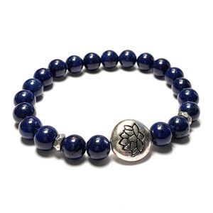 Jewelry - Lapis Lazuli Bracelet with a Lotus Charm